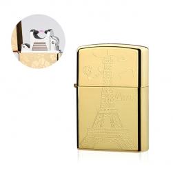 Bật Lửa Sạc Điện Khắc Hình Tháp Eiffel - pin sạc (Vàng)