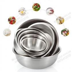 Bát-tô bằng inox 304 trộn bột làm bánh, để đồ ăn đa năng loại D20