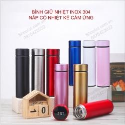 Bình giữ nhiệt 2 lớp 480ml nắp có nhiệt kế cảm ứng, bằng inox 304 cao cấp NC480