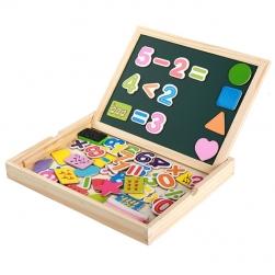 Đồ chơi giáo dục gồm số, hình nhiều màu sắc gắn nam châm kèm bảng học, hộp gỗ