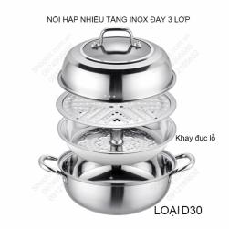 Bộ nồi hấp đa năng nhiều tầng D30 bằng inox dùng được cho bếp từ, đáy 3 lớp