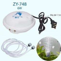 Máy sủi tạo khí oxy cho bể cá cảnh 2 đầu ZY748-6W có thể điều chỉnh lưu lượng bơm