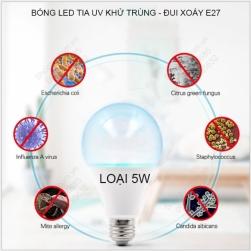 Bóng búp led tia UV khử trùng, diệt khuẩn đui xoáy E27, loại 5W