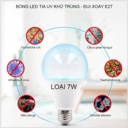 Bóng búp led tia UV khử trùng, diệt khuẩn đui xoáy E27, loại 7W