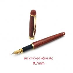 Bút máy ký (cây viết) HS07 vỏ gỗ hồng sắc, nét 0.7mm, có hộp giấy