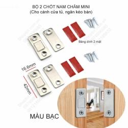 Bộ 2 chốt nam châm mini cho cánh cửa tủ, ngăn kéo bàn với nam châm mỏng, lực hút mạnh có băng dính 2 mặt và vít kèm theo