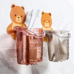 Bộ 2 Cốc hình gấu để đồ nhà tắm, nhà bếp, để bàn chải, lược, đũa, thìa muỗng đa năng