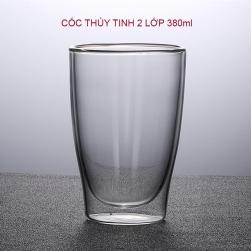 Cốc - Ly thủy tinh 2 lớp cách nhiệt, giữ nhiệt uống trà, sữa, cafe 380ml