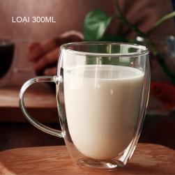 Cốc (ly) thủy tinh 2 lớp giữ nhiệt uống trà và café, có tay cầm 300ml