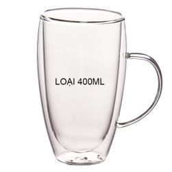 Cốc (ly) thủy tinh 2 lớp giữ nhiệt uống trà và café, có tay cầm 400ml