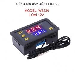 Công tắc thông minh cảm biến nhiệt độ W3230, điện áp 12V màn hình kỹ thuật số, đầu cảm biến rời, lắp âm