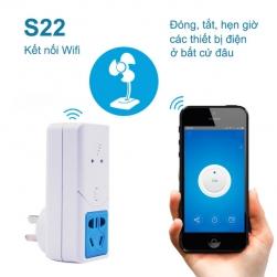 Ổ cắm thông minh S22 điều khiển từ xa bằng smartphone kiêm hẹn giờ đa năng thông qua wifi