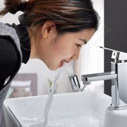 Đầu vòi nước xoay 720 độ làm bằng hợp kim đồng mà crom sáng bóng, đầu nhựa ABS 01 chế độ tạo bọt