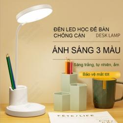 Đèn led học để bàn chống cận, tích điện, có hộp để bút và giá để điện thoại, ánh sáng 3 màu, điều chỉnh độ sáng vô cấp