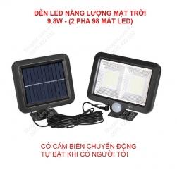 Đèn led pha năng lượng mặt trời L98F2 kèm cảm biến chuyển động loại 9.8W-98 mắt led có 2 pha
