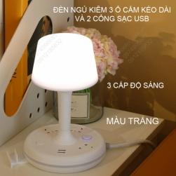 Đèn ngủ kiêm ổ cắm điện kéo dài 1.8m, cổng sạc USB 2A và giá đỡ điện thoại
