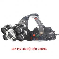 Đèn Pin LED siêu sáng đội đầu 5 bóng led (1T6 + 4XPE) - kèm 2 pin sạc và sạc, có chỉnh độ rọi