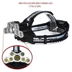 Đèn Pin LED siêu sáng đội đầu 9 bóng led (7*T6 + 2*XPE) - kèm 2 pin sạc