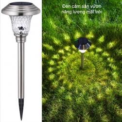 Đèn Led năng lượng mặt trời cắm sân vườn XLTD1808 vỏ inox và thủy tinh