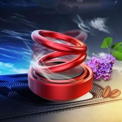Đồ trang trí xe hơi kiêm để sáp thơm, tự quay bằng năng lượng mặt trời với 2 vòng tròn gắn trang trí