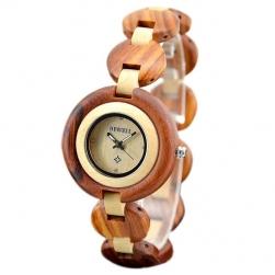 Đồng hồ đeo tay nữ - vỏ và dây làm bằng gỗ hương đỏ ngoài, gỗ Maple trong