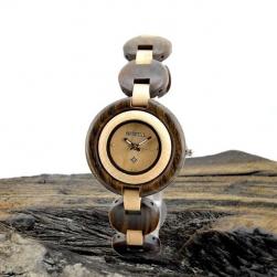 Đồng hồ đeo tay nữ vỏ và dây làm bằng gỗ tự nhiên (gỗ Mun ngoài và gỗ Maple trong)