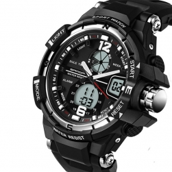 Đồng hồ thể thao hiển thị kim và số KB289 - màu đen phối bạc