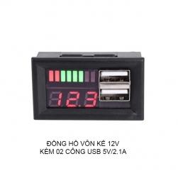 Đồng hồ vôn kế đa năng 12V kèm 2 cổng USB 5V2.1A cho sạc điện thoại DL-USB02