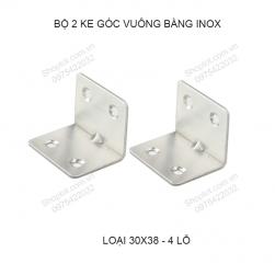 Bộ 2 ke góc vuông 30x38 dày 1.0mm bằng inox 201 không gỉ KGV.Inox