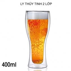 Cốc (ly) thủy tinh 2 lớp giữ nhiệt uống bia, cafe đa năng 400ml