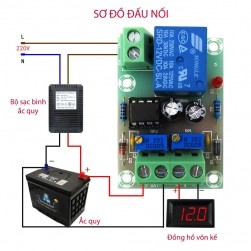 Module mạch kiểm soát và điều khiển tự động sạc bình ắc quy XH-M601-12V