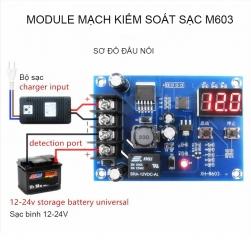 Module mạch kiểm soát và điều khiển tự động sạc bình ắc quy 12-24V có màn hình kỹ thuật số XH-M603