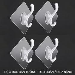 Bộ 4 móc treo quần áo đa năng L1033N dán tường loại nhỏ