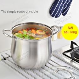 Nồi inox 304 sâu lòng NSLI304, chuyên luộc gà, nấu cháo, nấu canh, loại D26cm