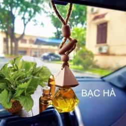Tinh dầu nguyên chất 100% treo xe ô tô, treo tủ quần áo lọ hình lục lăng hoặc táo, tinh dầu Bạc hà