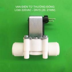 Van nước điện từ thường đóng loại 220V-N220, bằng nhựa, ren ngoài D15 (G1/2)