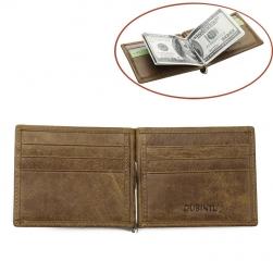 Ví nam kiểu kẹp tiền VTK408 da bò thật 100%, có khe để thẻ card