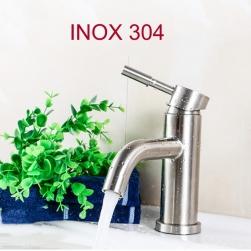Vòi nước nóng lạnh cho chậu rửa mặt VRNL-I304B2 tròn bằng Inox 304 kèm dây nối mềm vỏ inox