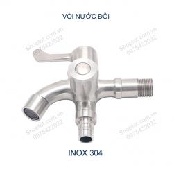 Vòi nước lạnh đôi gắn tường bằng Inox304 V5008 - Có đầu cho cấp nước máy giặt