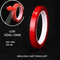 Băng dính 2 mặt loại acrylic trong suốt, chịu nhiệt, chịu lực (dày 1mm, dài 3m, rộng 10mm)