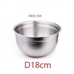Tô (bát) bằng inox 304 D18cm dùng trộn bột làm bánh, trộn salad, để củ quả đa năng