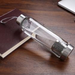 Bình đựng nước bằng thủy tinh 1 lớp 2 đầu kèm bộ lọc pha bằng inox - ST500ml (có dây treo)