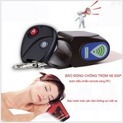 Bộ báo động chống trộm xe đạp không dây dạng cảm biến dung kèm điều khiển từ xa RF (remote)