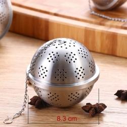 Dụng cụ lọc pha trà hình cầu D83mm làm bằng Inox 304 đục lỗ (loại to-Đại)