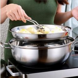Bộ nồi lẩu hơi, nồi hấp đa năng D32 bằng inox dùng được cho bếp từ, đáy 3 lớp A1028D32