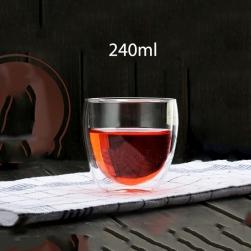 Cốc (ly) thủy tinh 2 lớp giữ nhiệt uống trà và cafe 240ml