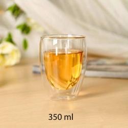 Cốc (ly) thủy tinh 2 lớp giữ nhiệt uống trà và cafe 350ml