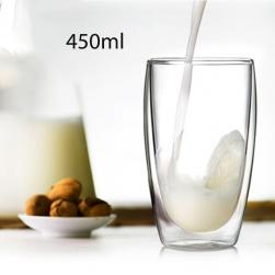 Cốc (ly) thủy tinh 2 lớp giữ nhiệt uống trà và cafe 450ml