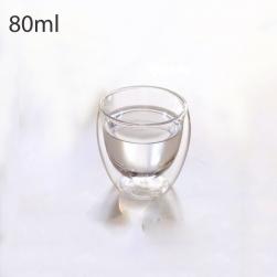 Cốc (ly) thủy tinh 2 lớp giữ nhiệt loại nhỏ uống trà và cafe 80ml