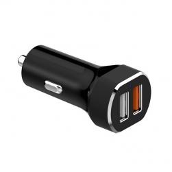 Đầu sạc điện thoại nhanh QC3.0 trên xe hơi và 1 cổng sạc USB thường (màu đen)